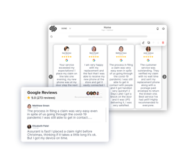 google reviews widget on squarespace