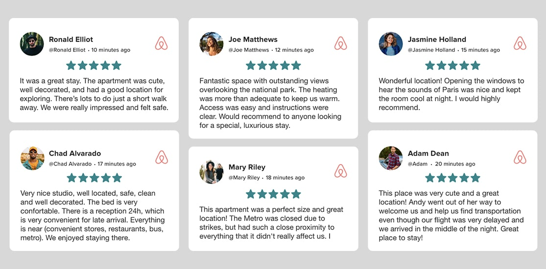 Airbnb reviews widget