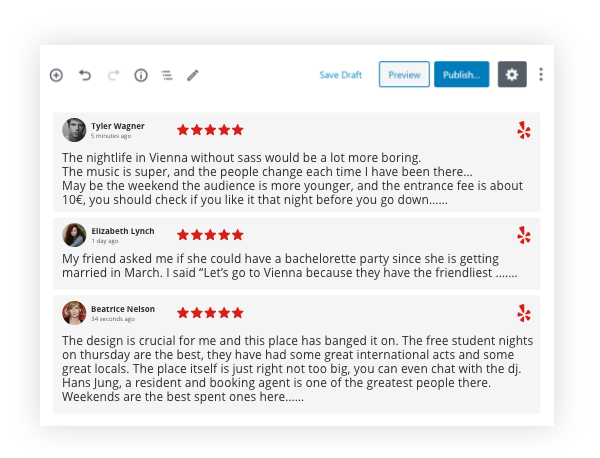 Taggbox yelp reviews widget on wordpress
