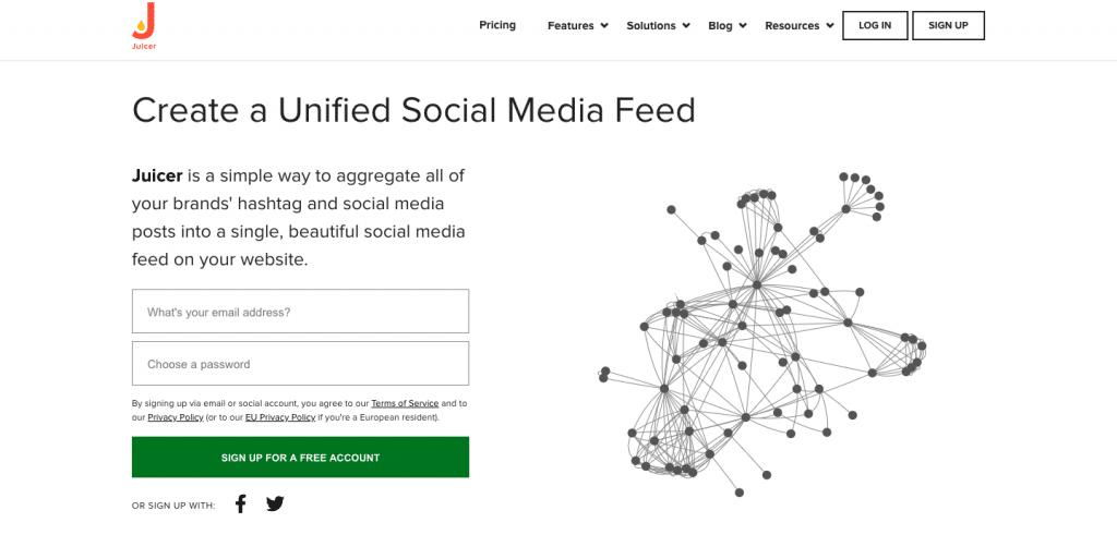 social media widget on website