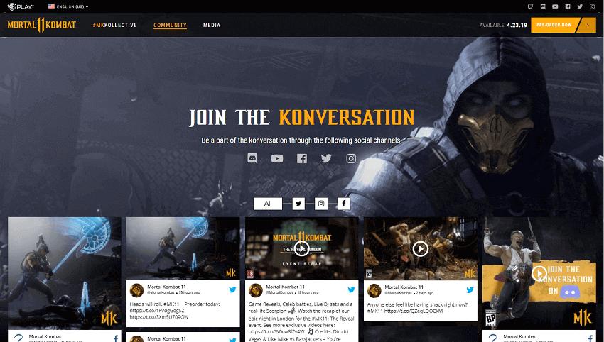 MK Mortal Kombat 11 Community feeds