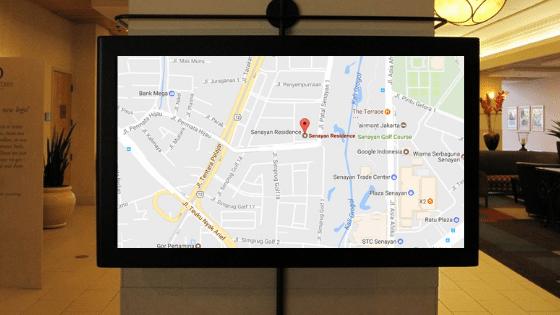 Maps in hotel digital signs