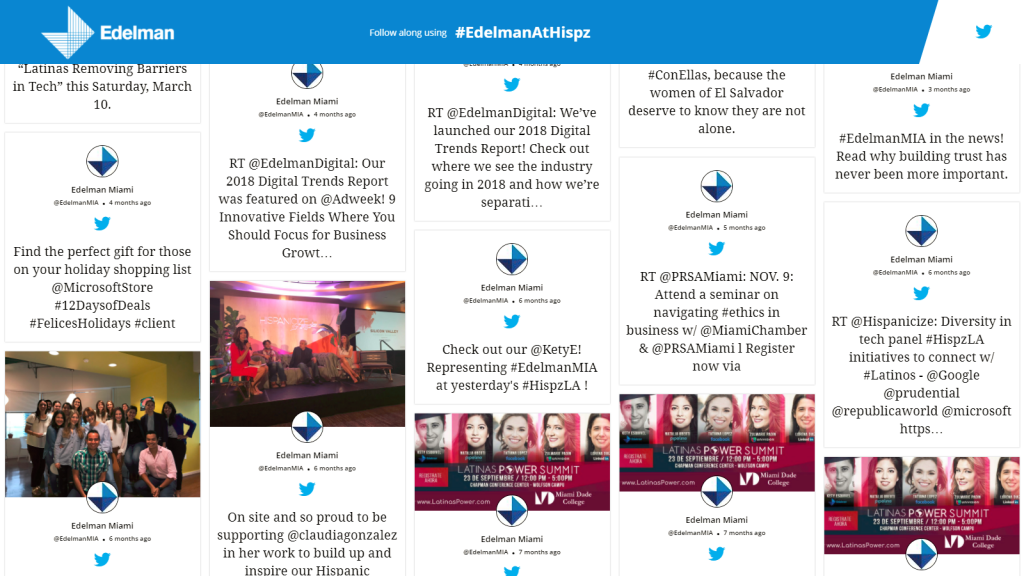 twitter live feed on screen