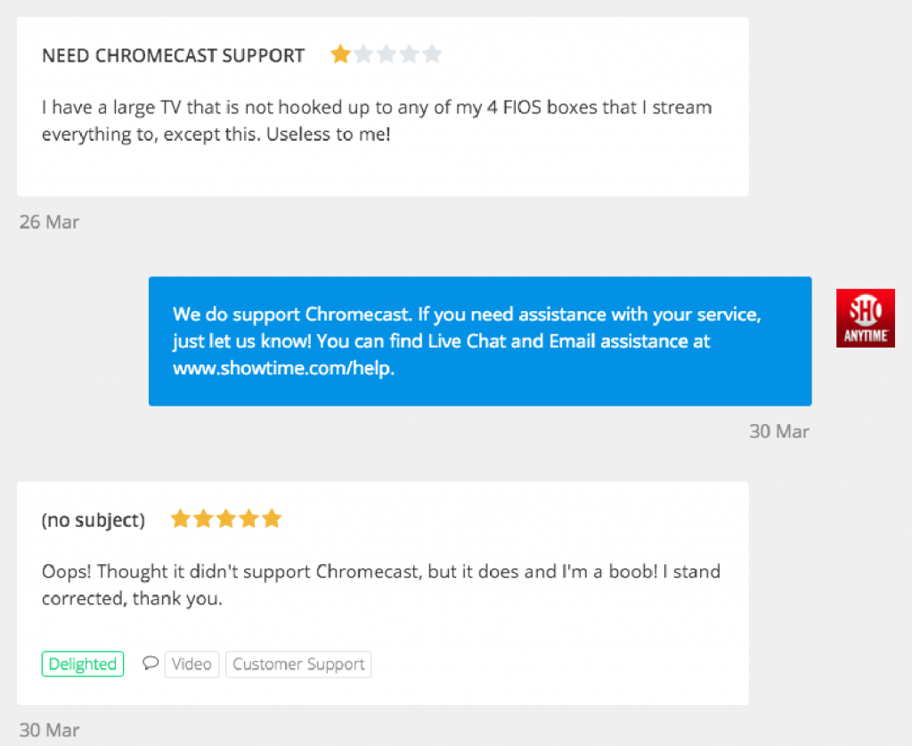 reviews on website