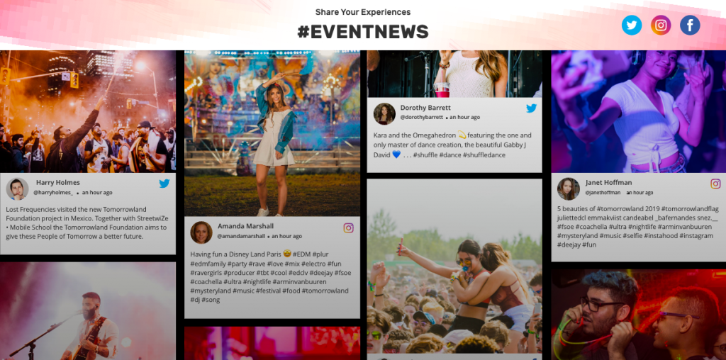 Social Media wall to keep attendies engaged during event