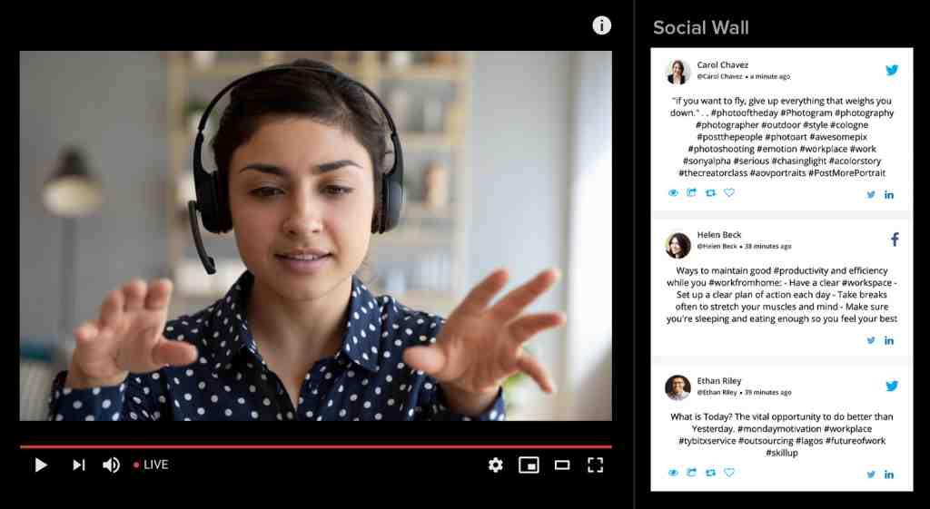 youtube live with social media wall. hybrid events example