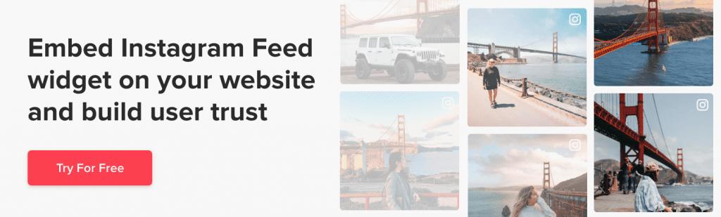 Add Instagram widget on website