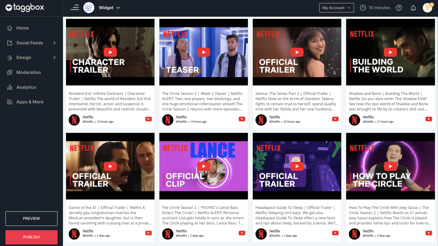 embed youtube channel feed