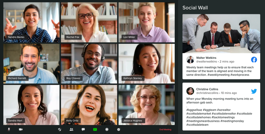 Social wall in virtual networking event