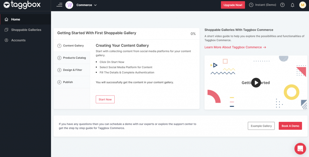 Taggbox Commerce Dashboard