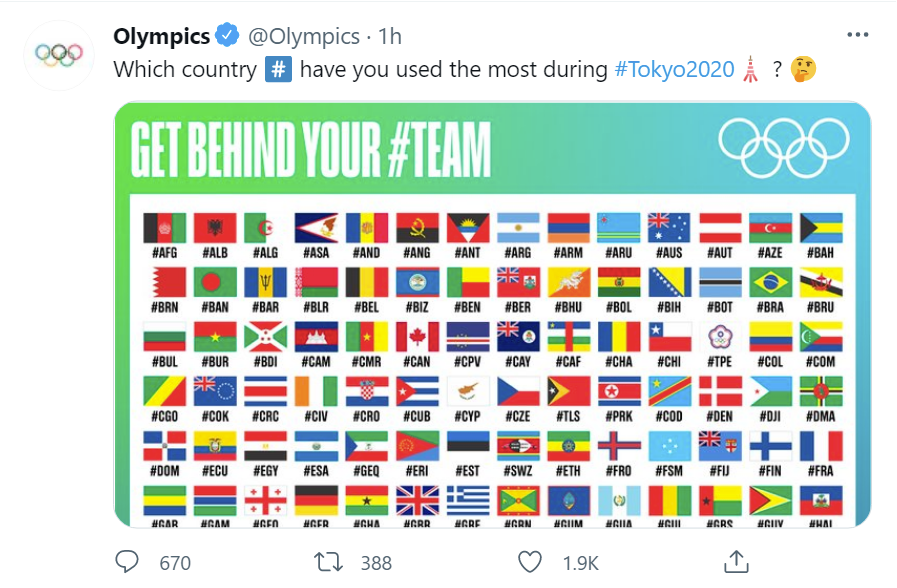 olymipics twitter post
