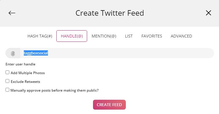 Twitter handle Feed