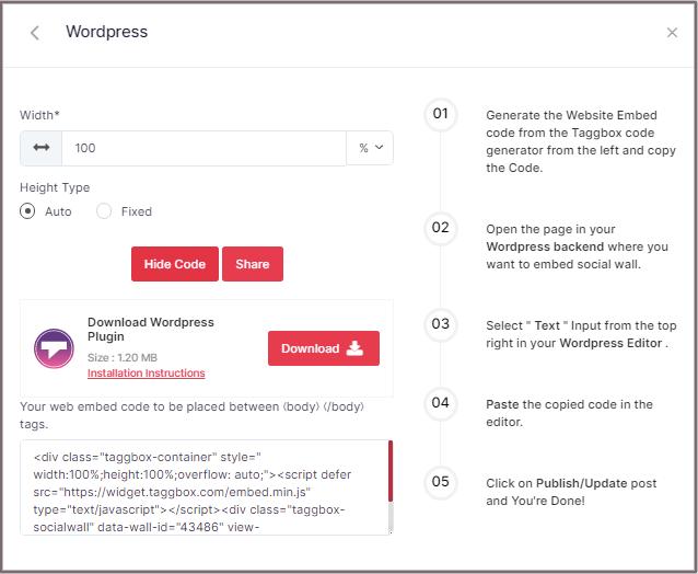 embed Twitter code for WordPress website