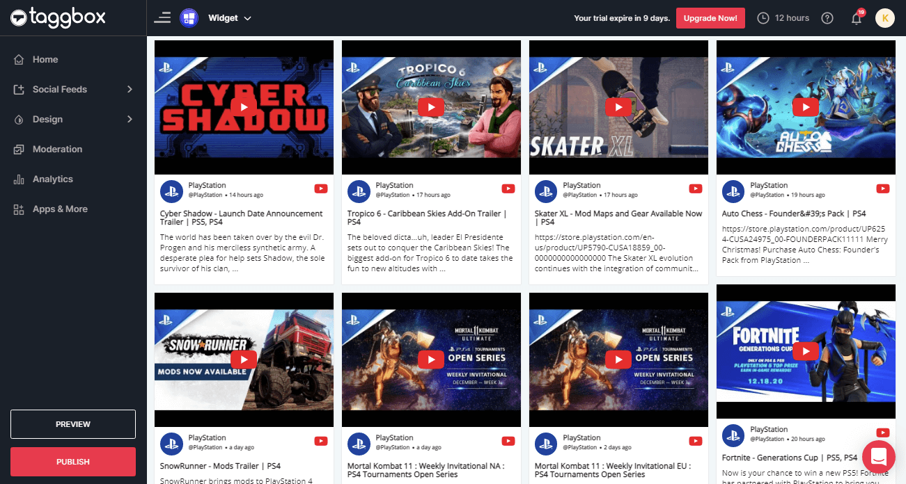 Embed YouTube Widget on website