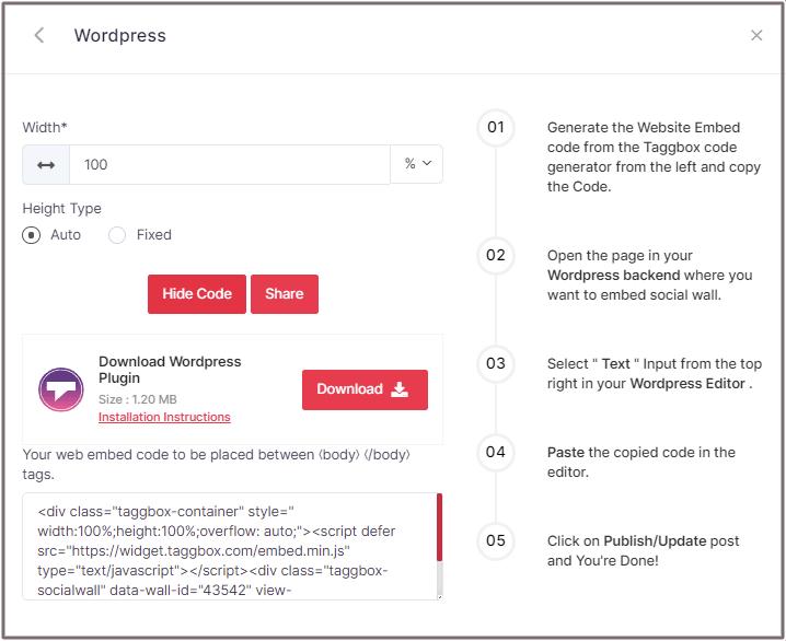 Embed Code WordPress