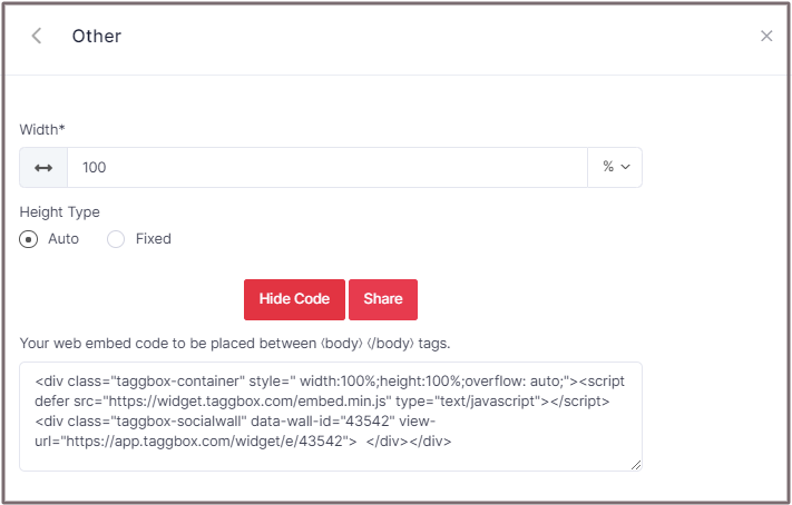 Embed Code Other