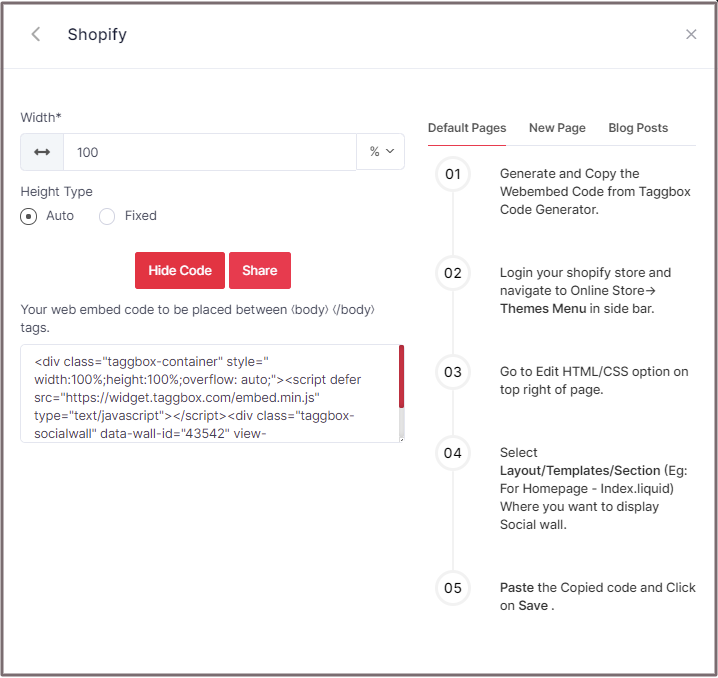 Embed Code for Shopify
