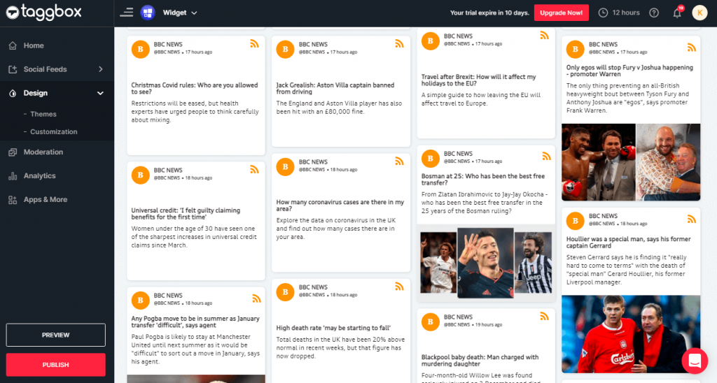 adding RSS feed to WordPress