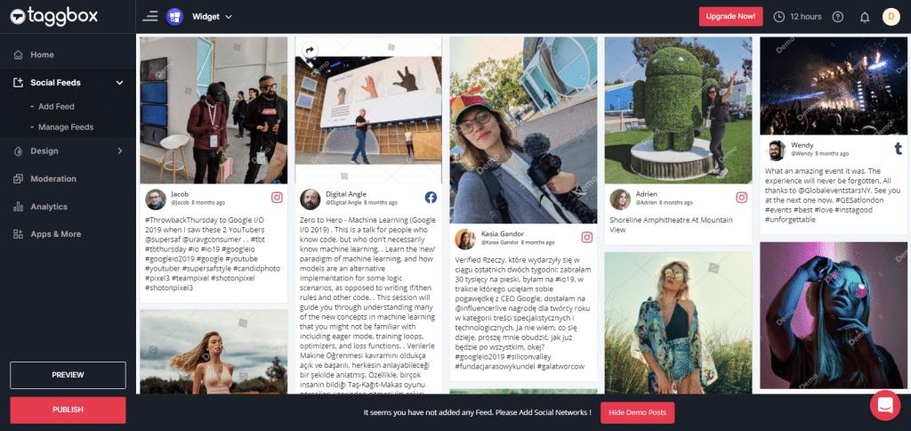 Preview & Publish Social Media Feeds Widget