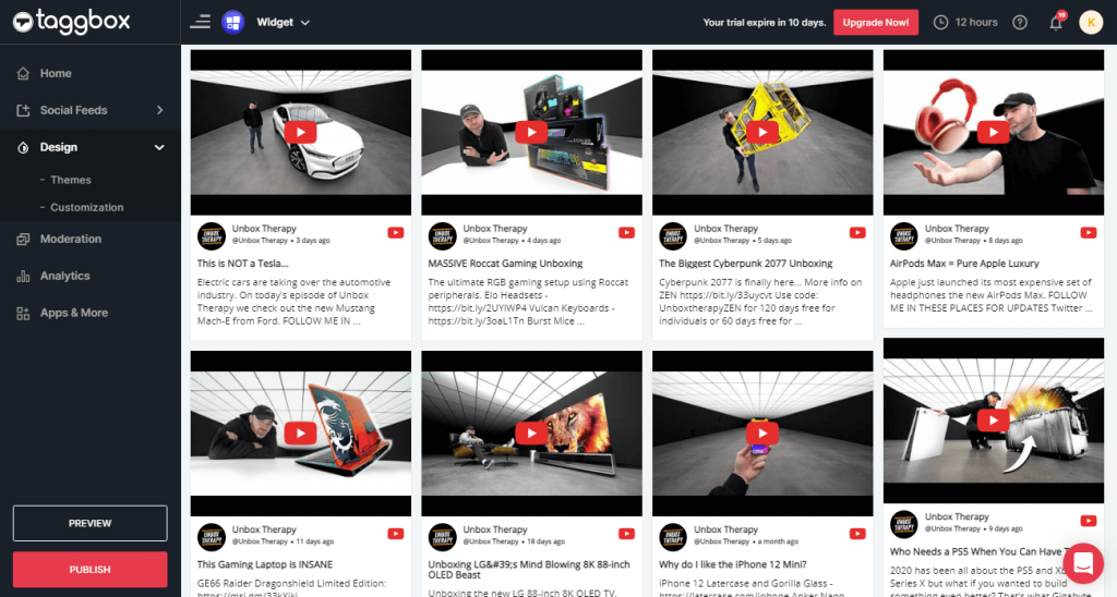 Preview & Publish YouTube Feeds Widget