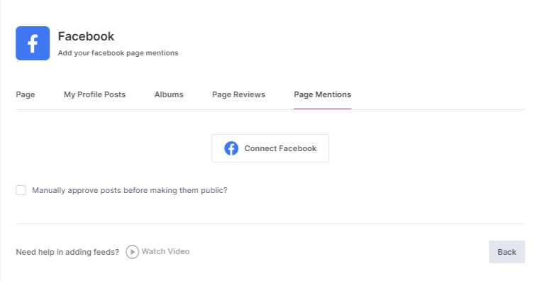 Choose FB Page Mentions
