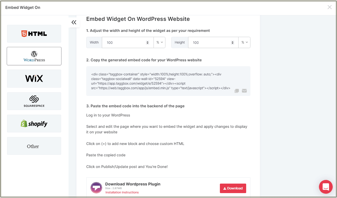 embed Widget on WordPress