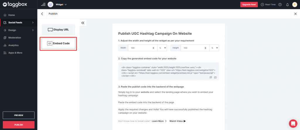 Embed Code for Hashtag Campaign