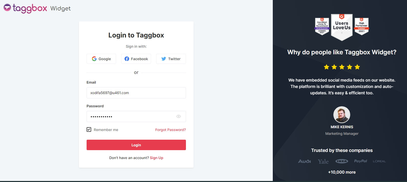 Taggbox Widget Login